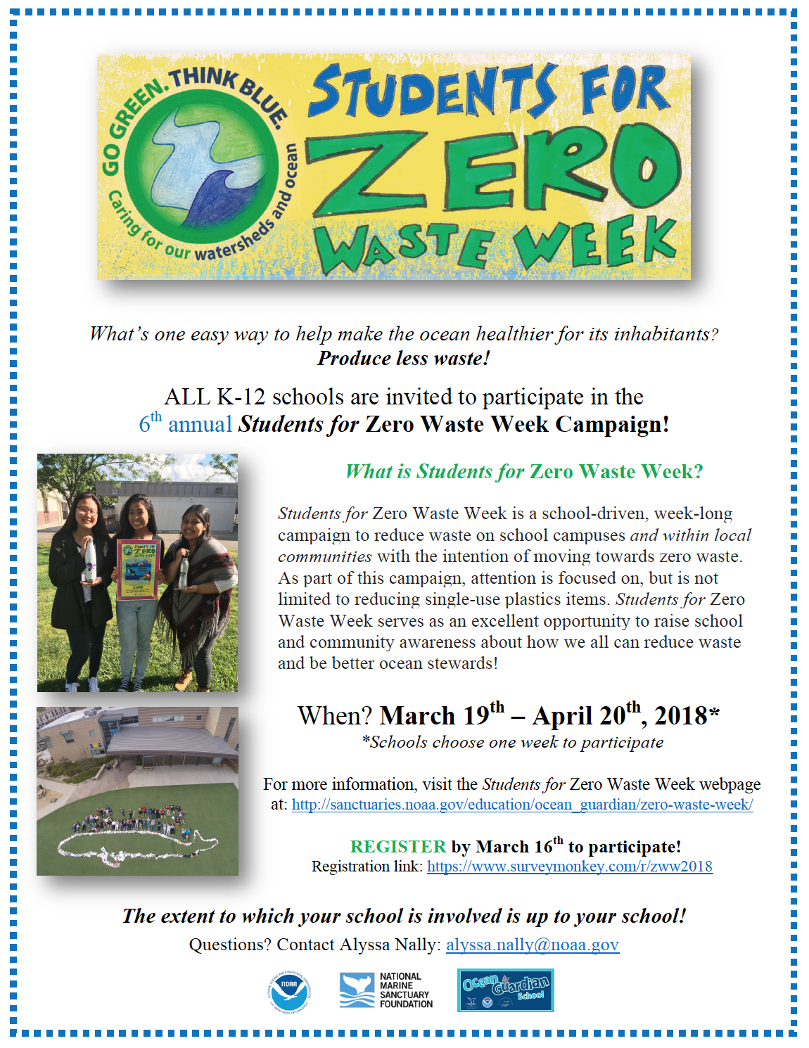 Students For Zero Waste Week 2018: Register By March 16th!